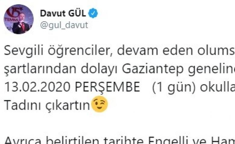 Gaziantep'te okullar 1 gün tatil!